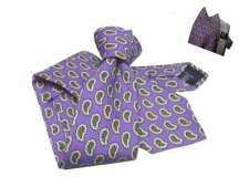 Cravatta lana uomo lilla viola motiv paisley beige e possibile completo pochette