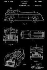 1939 - Fire Truck Design - J. W. Fitch - Patent Art Poster