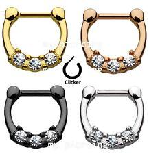 "Three Pronged Gems Princess Septum Clicker Gold Ip 316L Surgical Steel 14G-1/2"""