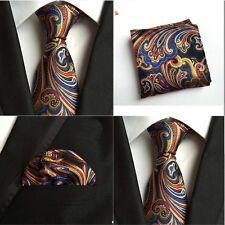 Men Mixed Color Paisley Flower Silk Tie Pocket Square Handkerchief Set Lot HZ108