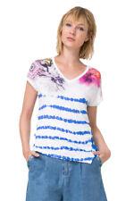 Desigual Blue Tie Dye Stripe & Floral Cellia Tshirt Top S-XXL UK 10-18 RRP�49