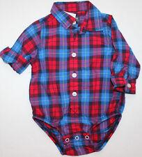 Oshkosh 9 M Bodysuit L/S Button Shirt Boy's Blue Red Plaid FREE Ship NWT