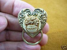 (E-353) Daisy flower ivory + brown heart Eyeglass pin pendant ID badge holder