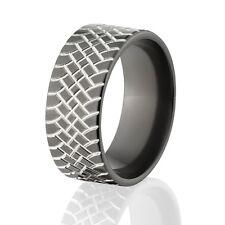 Custom Black Zirconium Tire Tread Rings, Two-Tone Color, Rugged Men's Rings