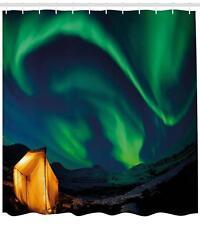 Aurora Borealis Shower Curtain Geometry Decor Set with Hooks 4 Sizes Ambesonne