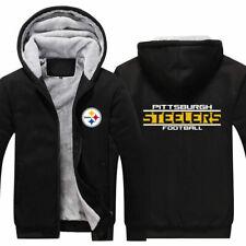 Pittsburgh Steelers Thicken Hoodie Men Fleece Hooded Warm Sweatshirt Jacket Coat
