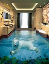 Cute Polar Bear 3D Floor Mural Photo Flooring Wallpaper Home Print Decoration