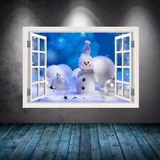 A Todo Color Muñeco de Nieve Ventana Navidad Adhesivo Pared Pegatina con Imagen