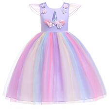 2020 Girls Kids Fancy Tutu Dress Up Unicorn Rainbow Cosplay Costume Dress Xmas