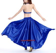 Royal Blue 360 Full Circle Satin Long Skirt Tribal Belly Dance Oriental Jupe ATS