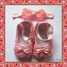 Baby girls soft sole prewalker  (pram) Satin shoes& Headband PINK & FREE GIFT