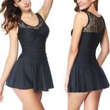 Womens Push-up Padded Swim Dress Swimsuit Bikini Set Swimwear Tankini Plus Size