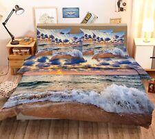 3D Black Clouds Beach 444 Bed Pillowcases Quilt Duvet Cover Set Single Queen CA