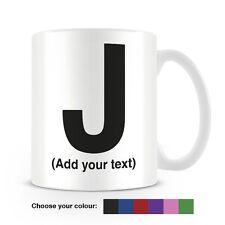 Helvetica lettera J Tazza da caffè-può essere personalizzata-aggiungi il tuo nome - 6 COLORI