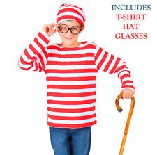 Where's Wally Waldo Child Boys Costume Book Week Character Top Glasses Hat Girls