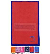 Mediterraneo Telo mare tinta unita ricamato 90x170 cm