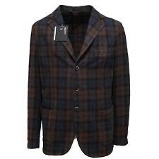 93954 giacca marrone e blu BRANDO COTONE capo spalle giacche uomo jacket men