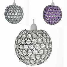 Chrome Acrylic Crystal Effect Jewels Ball Ceiling Light Pendant Shades Rosa New
