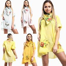 Women Ladies Floral Italian Lagenlook Scarf Tunic Top Cotton Summer Baggy Tops