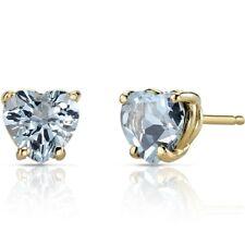 14K Yellow Gold Heart Shape 1.50 Carats Aquamarine Stud Earrings