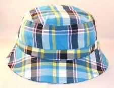 Blue Plaid Baby Boy Bucket Sun Hat Cap Adjustable Cotton FREE SHIPPING