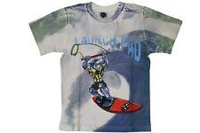 T-shirt da bambino bianca blu MauiandSons manica corta girocollo squalo junior