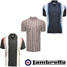 Lambretta Chalk Stripe Mens Shirts Bowling Short Sleeve Button Up Cotton UKS-4XL