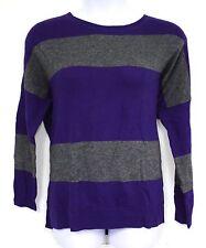 Ralph Lauren Jeans Sweater Purple Gray Grey Striped Lambswool Cashmere Blend New