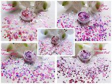 """Esagono fiore farfalla """"BELLA in Rosa"""" Glitter Spangle Forma Nail Art Mescola"""