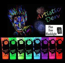 8 X UV Glow Neon Face Body Paint 15ml to 1L Fluoro Party Glow Set + FREE UV LIGH
