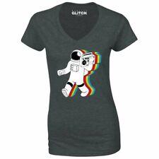 La realidad Glitch Mujer Funky Spaceman Escote en V Camiseta