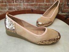 Joan Boyce Gold Mesh & Glitter Mini Wedge Skimmer NEW