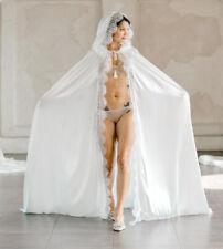 Chiffon Hooded Cloak Wedding Bridal Lace Edge Long Robe Nightgown Women's Wrap