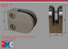 Edelstahl Glashalter V2A Anschluss flach Glasklemme Glass Clamp Inox