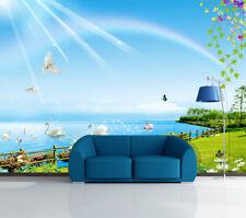 3D Regenbogen Schwan 37 Fototapeten Wandbild Bild Tapete Familie Kinder