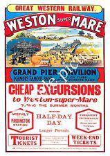Weston Super mare : Vintage Railways advert, Wall art , poster, Reproduction.