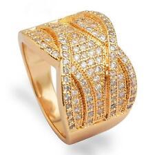 Damen Luxusring Ring Zirkonia weiß 750er Gold 18 Karat vergoldet gelbgold R2853