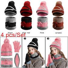 4 Pcs Women Ladies Winter Knitted Beanie Hat Scarf Set Snood Pompom Cap + Gloves