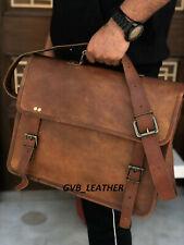 Vintage Leather messenger Storage For Laptop computer case men's Shoulder Bag