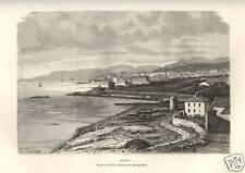 1876= BASTIA = Corsica = Stampa Antica = Old Engraving