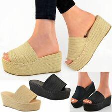Womens Wedge Flatforms Sandals Platform Summer Espadrilles Slip On Mules New