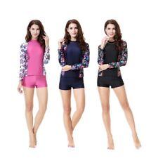 Womens Swimming Costume Long Sleeve Shorts Swimwear Swimsuit Tankini Surfing UK