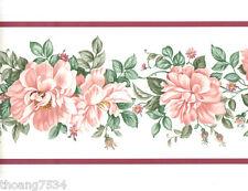Pink Peach Rose Vine Garland Lavender Purple Band Wall paper Border EH99870