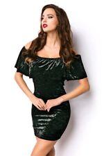 Femmes robe noire tenues velours minirobe élastique partie sexy uy 15096