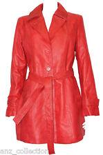 Faith femmes rouge classique mi-longueur rétro designer véritable cuir souple veste manteau
