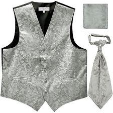 New Men's Paisley Tuxedo Vest Waistcoat & Ascot Cravat & Hankie Wedding Silver