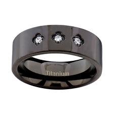 Stone Cubic Zirconia Men's Wedding Ring Titanium Flat Shiny Top Black Band 3