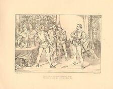 1879 LARGE VICTORIAN PRINT ~ LORD BYRON LARA PROUD OTHO THREW HIS GLOVE ON EARTH