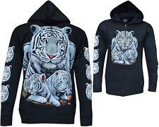 Nuevo blanco siberiano Bengal Tiger Con Cremallera De Cachorros Con Cremallera Chaqueta Con Capucha Sudadera Con Capucha Con Capucha