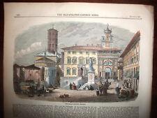 PERUGIA,silografia XIX secolo colorata,LONDON NEWS 1859.UMBRIA